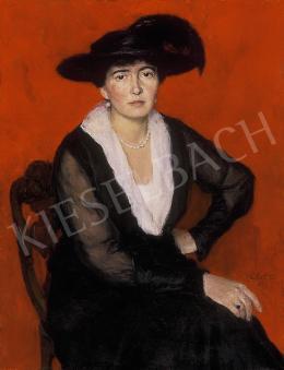 Glatz Oszkár - Fekete kalapos hölgy