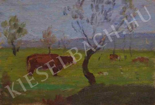 Eladó  Kunffy Lajos - Ligetben legelő marhák festménye