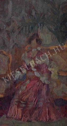 Kunffy Lajos - Arisztokrata hölgy szalonban (vázlat)