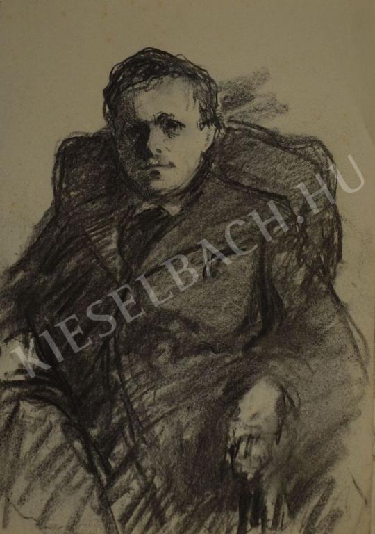 Eladó  Kunffy Lajos - Székben ülő férfi festménye