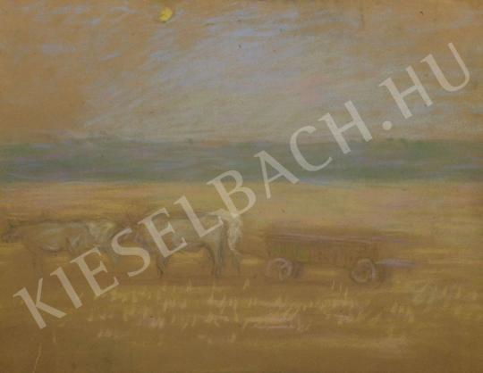 Eladó  Kunffy Lajos - Négyökrös szekér a tájban festménye