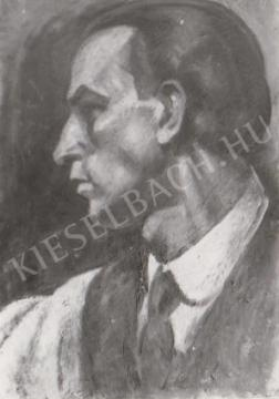 Gábor Jenő - Kék önarckép profil festménye