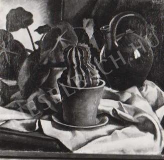 Gábor Jenő - Kaktuszos csendélet festménye