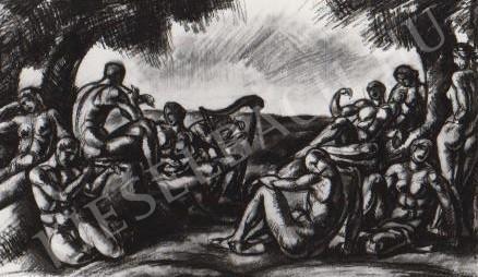 Gábor Jenő - Zenélők festménye