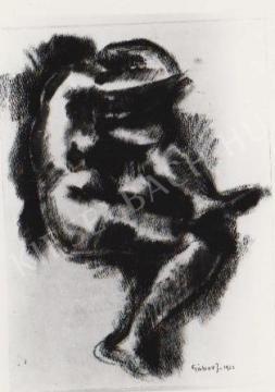 Gábor Jenő - Ülő akt, tanulmány festménye