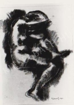 Gábor Jenő - Ülő akt, tanulmány (1922)