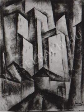Gábor Jenő - Házak festménye