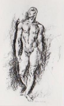 Gábor Jenő - Lépő férfiakt festménye