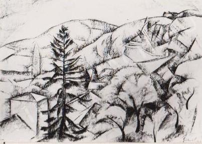 Gábor Jenő - Táj fenyővel festménye