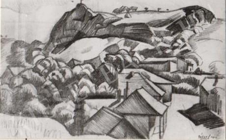 Gábor Jenő - Havihegyi sziklák festménye
