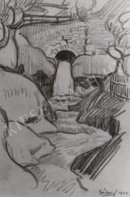 Gábor Jenő - A tettyei patak vízesése festménye