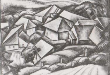 Gábor Jenő - Lelátás a Havihegyről festménye