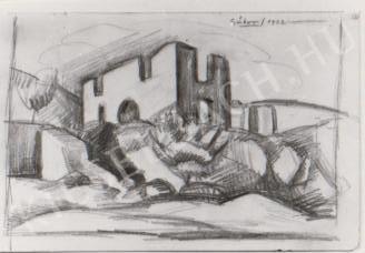 Gábor Jenő - Tettyei rom festménye