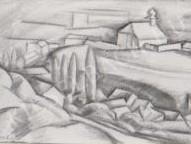 Gábor Jenő - Rálátás a Mindszentek templomára festménye