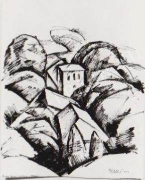 Gábor Jenő - Villa a Tettyén festménye