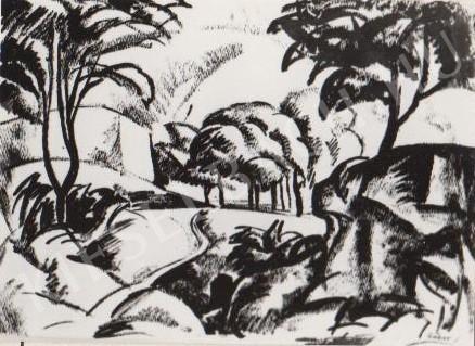 Gábor Jenő - Táj a Tettye alatt festménye