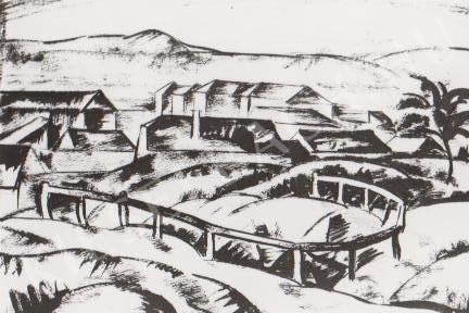 Gábor Jenő - Táj házakkal, korláttal festménye