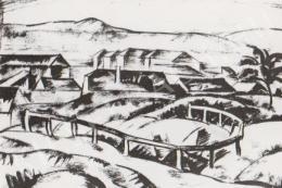 Gábor Jenő - Táj házakkal, korláttal