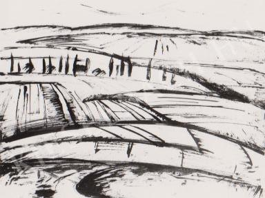Gábor Jenő - Pécsi rétek festménye