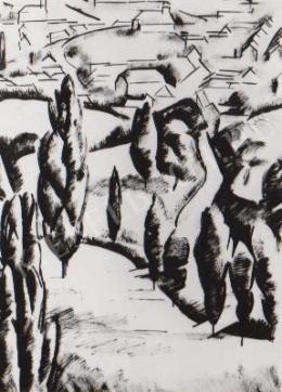 Gábor Jenő - Táj háttérben házakkal