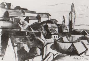 Gábor Jenő - Háztetők a Tettyén festménye
