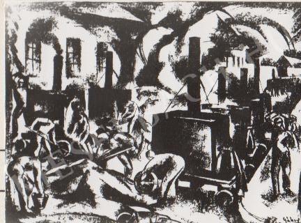 Gábor Jenő - Aszfaltozók festménye