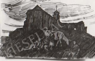 Gábor Jenő - Mindszentek temploma K. felől festménye