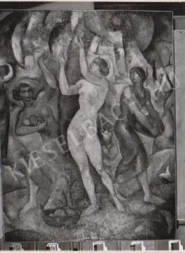 Gábor Jenő - Gyümölcsszedők festménye