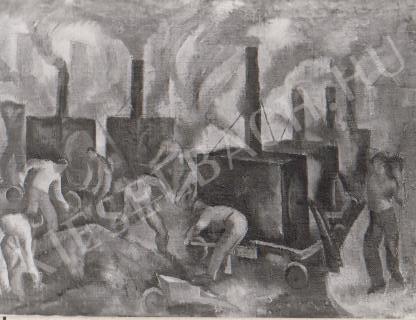 Gábor Jenő - Aszfaltozzák a Malom utcát festménye
