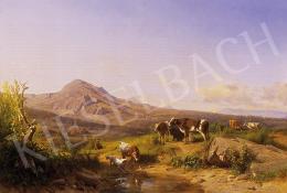 Markó, András - Sunlit italian landscape with cows