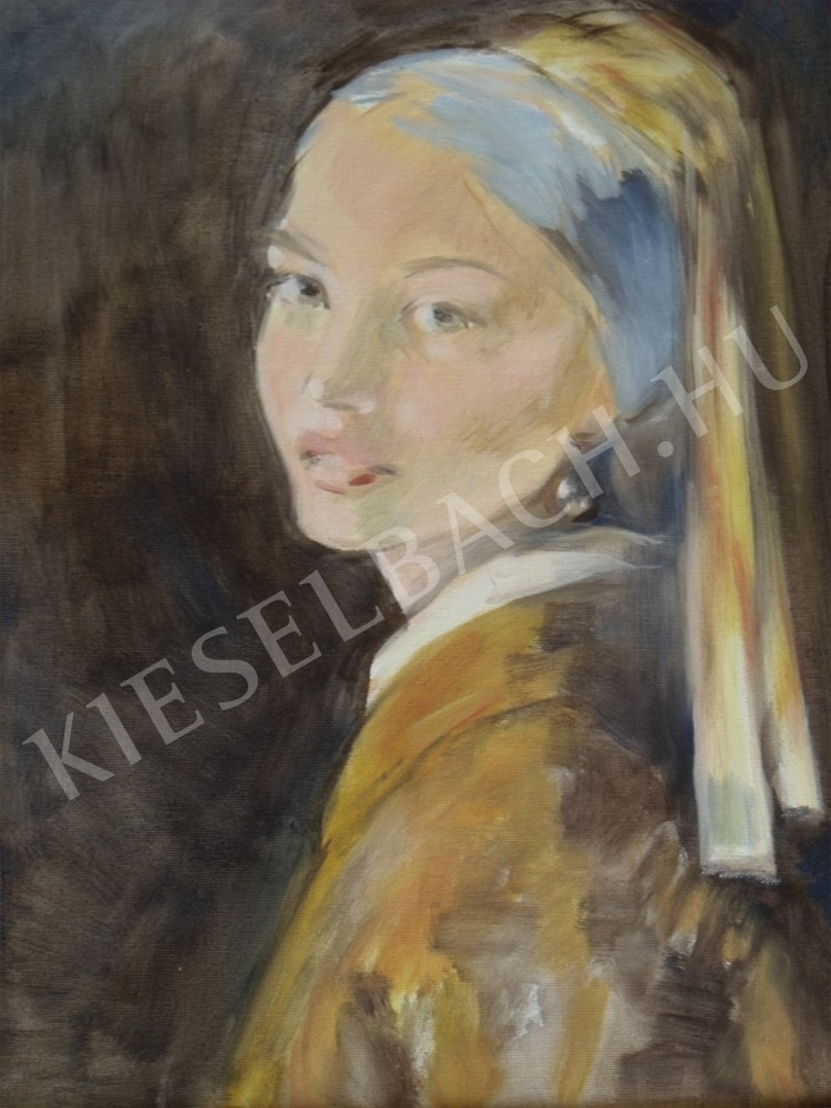 nagyszerű közelebb a speical ajánlat Mészáros Ágnes - Anna gyöngy fülbevalóval festménye