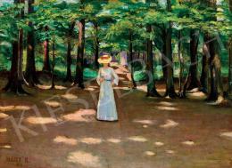Nagy Károly - Kalapos hölgy a parkban (1907)