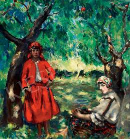 Csók, István - Girls in Sokác Costume under Trees