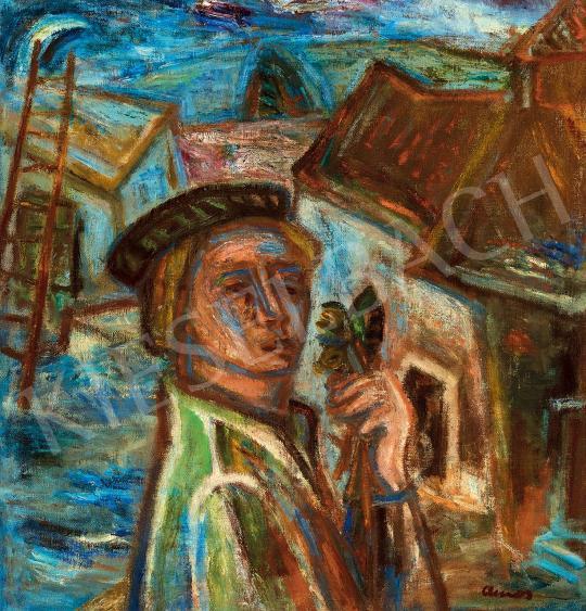 Ámos, Imre - Self-Portrait with Flower, c. 1940 | 45th Auction auction / 52 Item