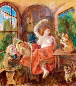 Szabó Vladimir - Műterem akttal, macskákkal