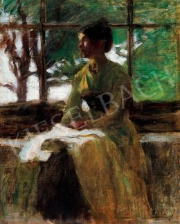 Koszta József - Fiatal nő ablak előtt