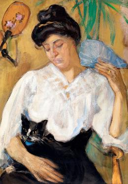 Márffy, Ödön - Womant with a Cat c. 1906