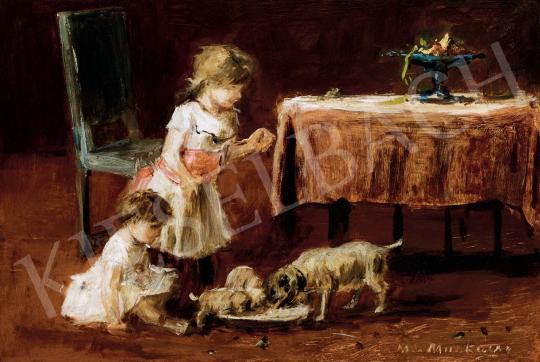 Munkácsy, Mihály - Feeding Puppies, c.1880 | 45th Auction auction / 166 Item