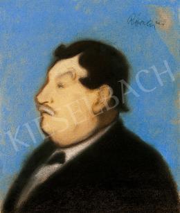 Rippl-Rónai József - Férfi portré kék háttérrel