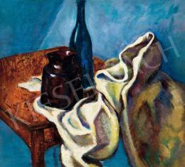Tihanyi Lajos - Csendélet kék üvegpalackkal