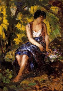 Iványi Grünwald, Béla - Woman with a bunch of flowers