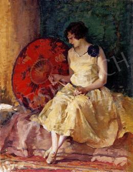 Vígh, Bertalan - Woman with a red umbrella