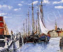 Medgyes László - Velencei kikötő, háttérben a Szent Márk térrel