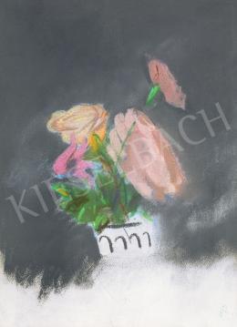 Bernáth Aurél - Virágcsendélet (Szegfűszálat vázába helyező női kéz)