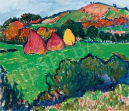Ziffer, Sándor - Nagybánya Landscape with Haystacks (1908)