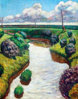 Huzella Pál - Folyóparti táj (1914)