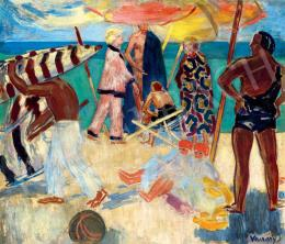 Vaszary, János - On the Beach (Beach in Portorose) (c.1928)