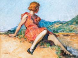 Thorma János - Dombon ülő lány piros ruhában