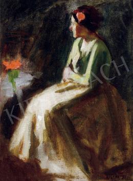 Koszta, József - Girl with Geranium