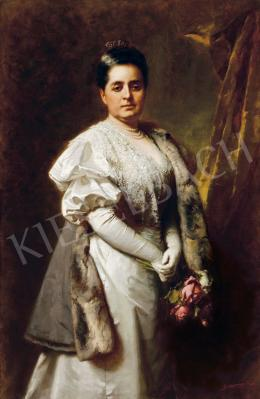 Benczúr Gyula - Hölgy csipkeruhában rózsával